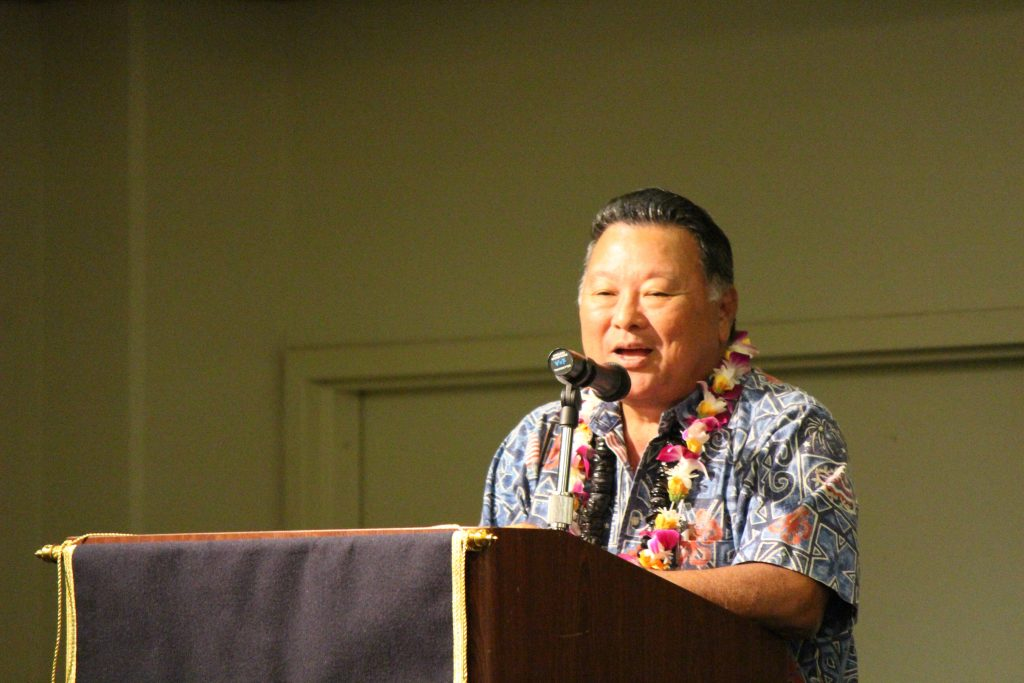 Maui Mayor Alan Arakawa speaking at the Maui Police Department 83rd Recruit Class and Emergency Services Dispatchers Graduation. Photo by Wendy Osher.