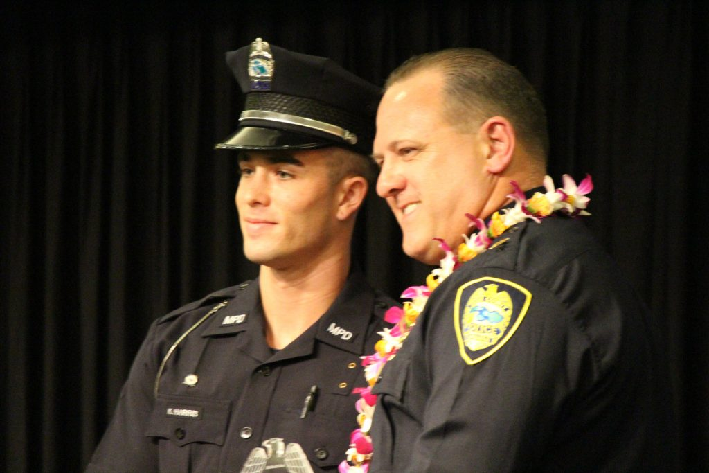 Korey Harris receiving the Sensei Shinichi Suzuki Arrest Defense Tactics Award. Maui Police Department 83rd Recruit Class and Emergency Services Dispatchers Graduation. Photo by Wendy Osher.