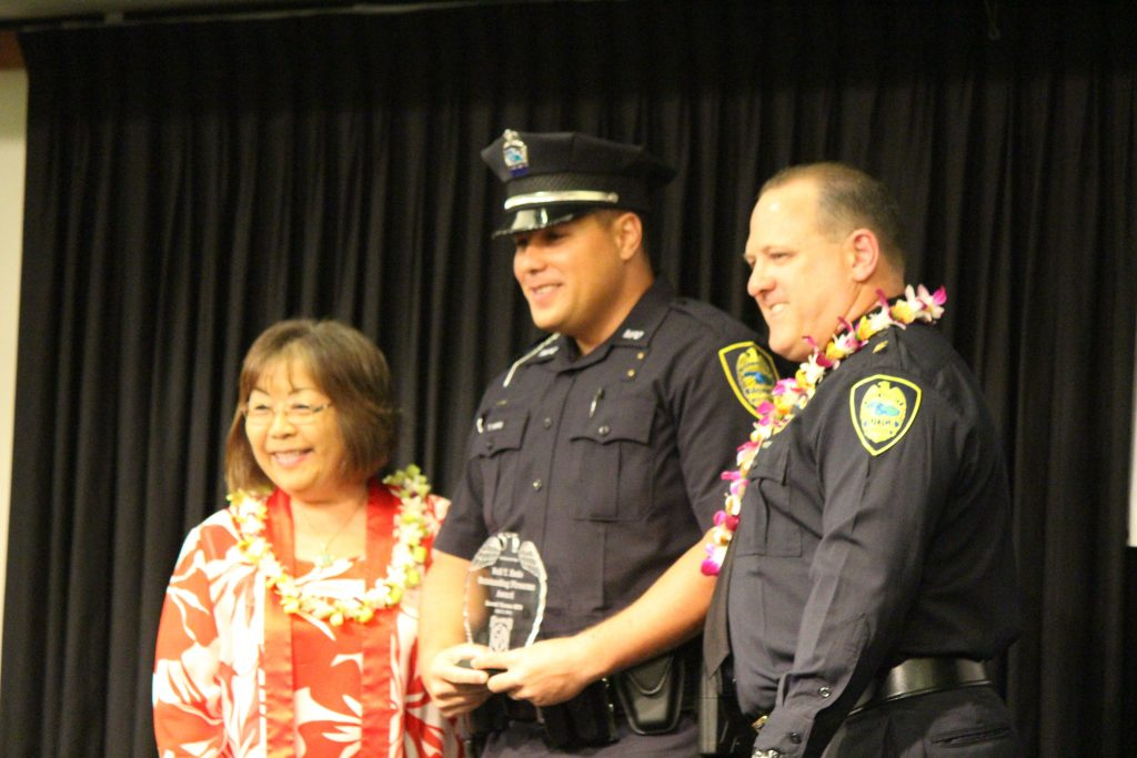 Thomas Hifo receiving the Neil T Endo Firearms Award. Maui Police Department 83rd Recruit Class and Emergency Services Dispatchers Graduation. Photo by Wendy Osher.
