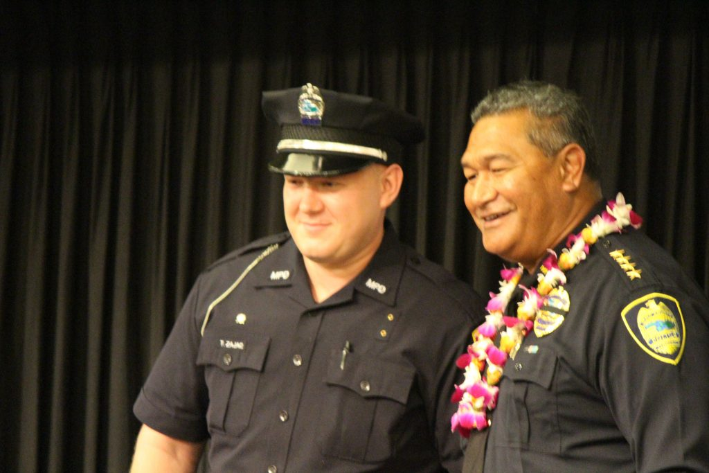 Timothy Zajac receiving the Scholastic Achievement Award. Maui Police Department 83rd Recruit Class and Emergency Services Dispatchers Graduation. Photo by Wendy Osher.
