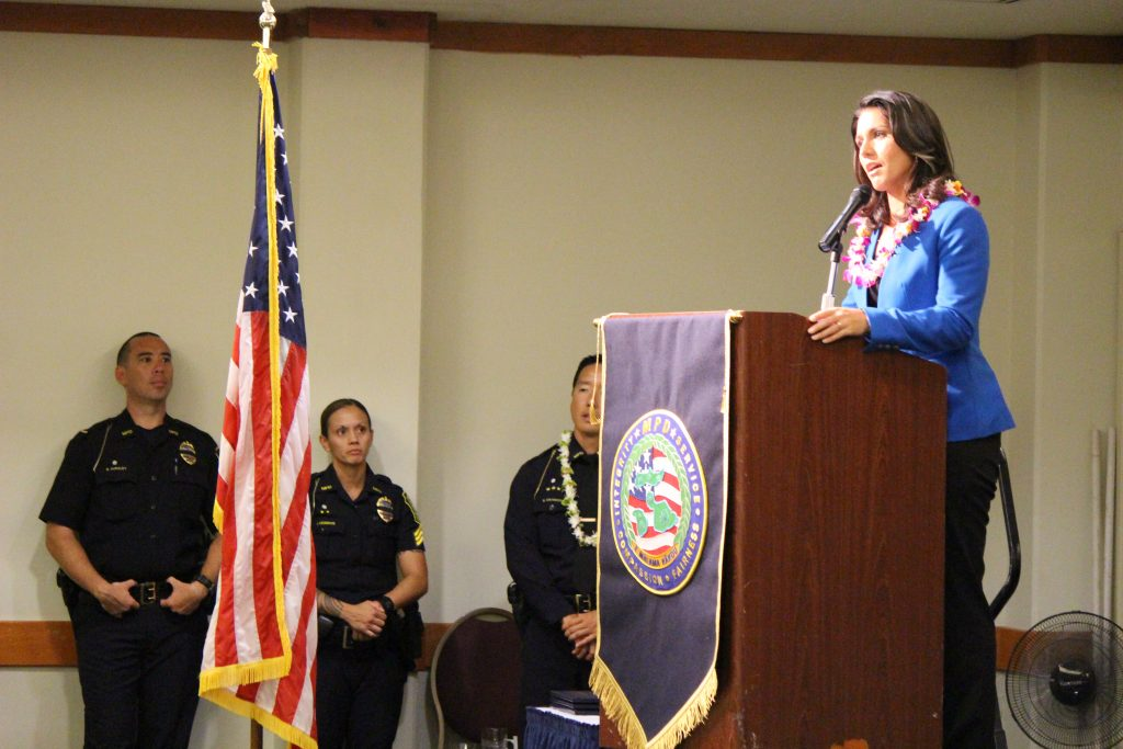 Rep. Tulsi Gabbard delivering the keynote address at the Maui Police Department 83rd Recruit Class and Emergency Services Dispatchers Graduation. Photo by Wendy Osher.