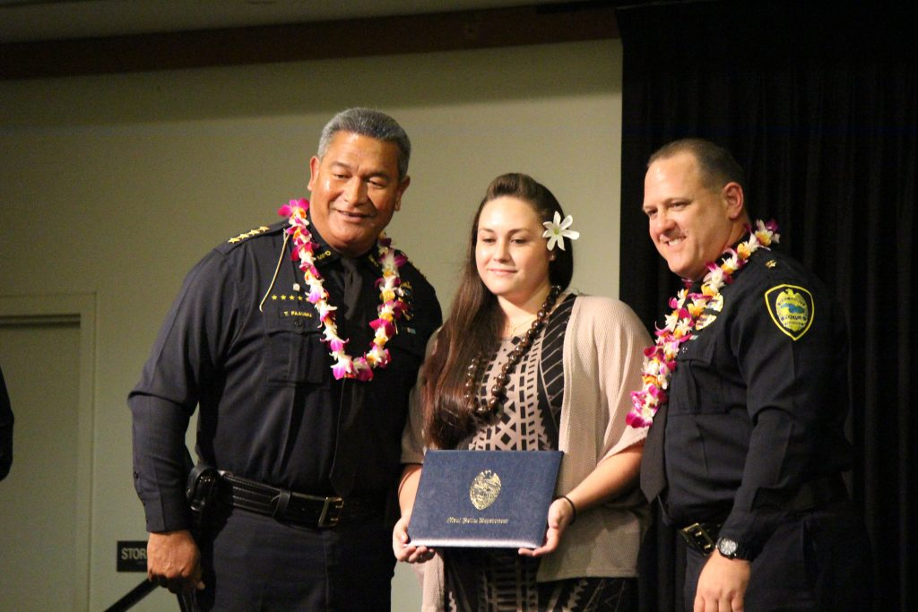 Reane Gonzales-Tavares (emergency services dispatcher graduate) at the Maui Police Department 83rd Recruit Class and Emergency Services Dispatchers Graduation. Photo by Wendy Osher.