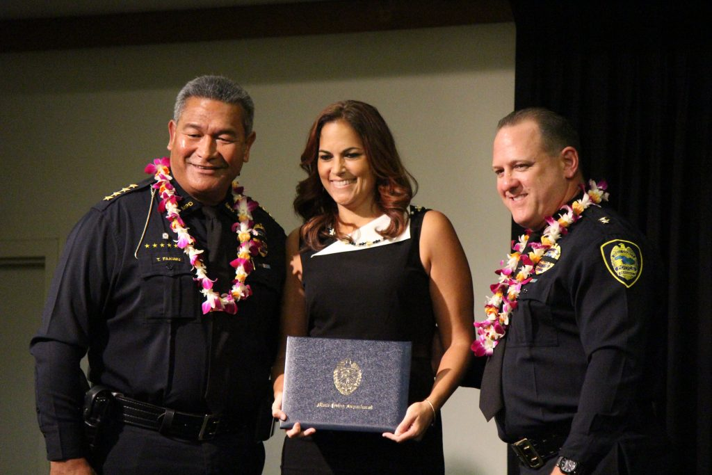 Stacey Keomaka (emergency services dispatcher graduate) at the Maui Police Department 83rd Recruit Class and Emergency Services Dispatchers Graduation. Photo by Wendy Osher.