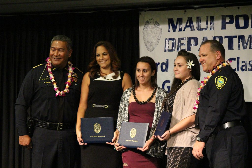 Stacey Keomaka, Johnel Lozano and Reane Gonzales-Tavares (emergency services dispatcher graduates) at the Maui Police Department 83rd Recruit Class and Emergency Services Dispatchers Graduation. Photo by Wendy Osher.