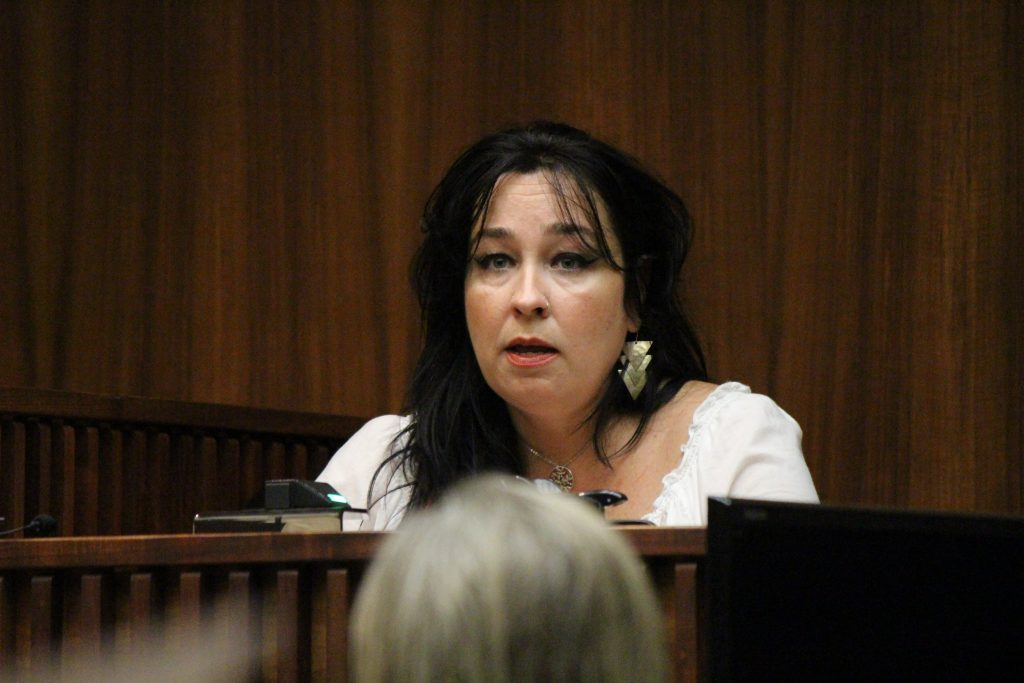"Kimberlyn Scott, mother of Carly ""Charli"" Scott, testified on Tuesday, July 26, 2016 in the murder trial of Steven Capobianco. Photo: 7.26.16 by Wendy Osher."