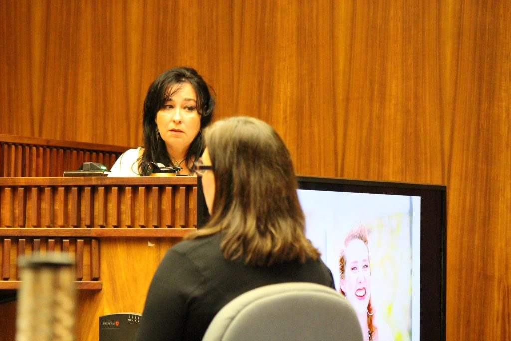 """Kimberlyn Scott, mother of Carly """"Charli"""" Scott, testified on Tuesday, July 26, 2016 in the murder trial of Steven Capobianco. Photo: 7.26.16 by Wendy Osher."""