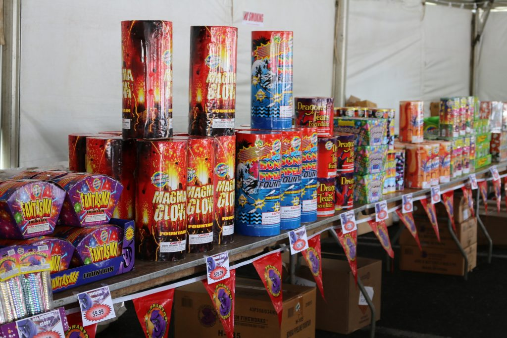 Novelty fireworks can be purchased at the Phantom Firework tent at Queen Kaʻahumanu Center until Monday, July 4. Photo: Nicole Schenfeld