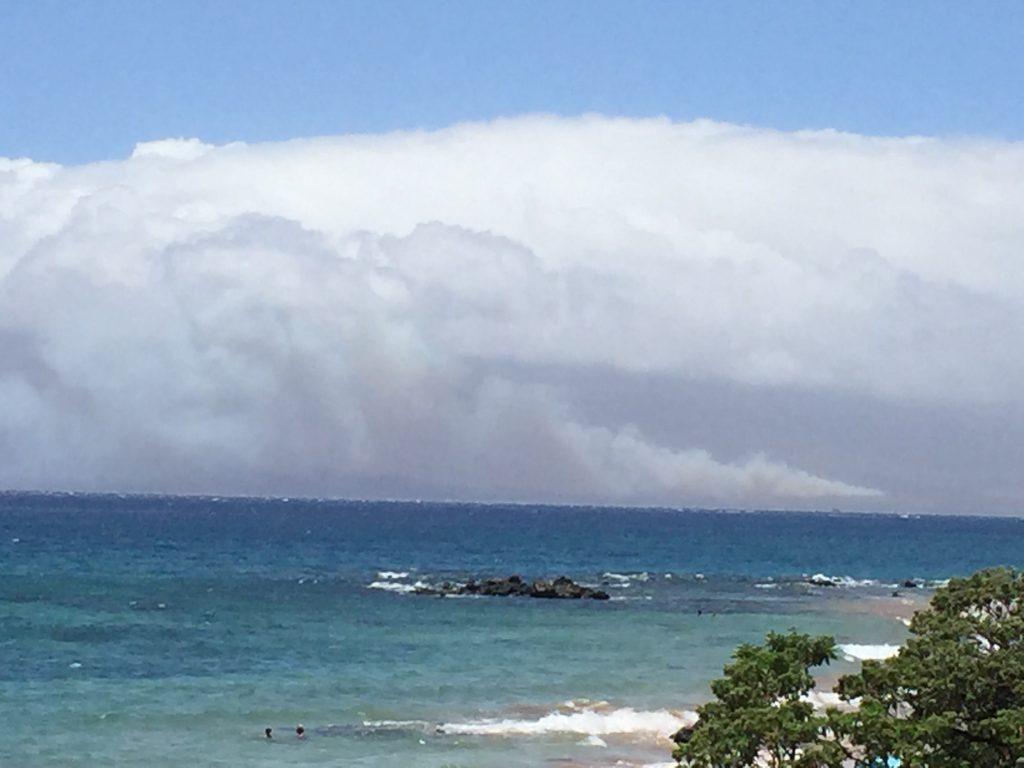 Māʻalaea fire 7.2.16. (vantage from Wailea) Photo credit: Nicole Schenfeld.