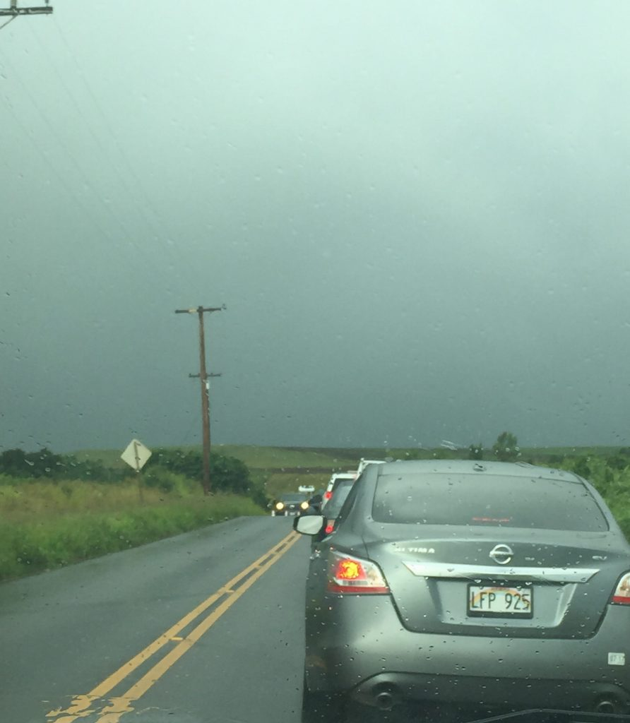 Hāliʻimaile Road Electric Line repairs. 5:27 p.m. 7.23.16. Photo Credit: Nicole Schenfeld.