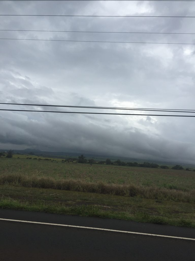 Tropical Storm Darby. Heading into Central Maui from Haleaklāʻ Hwy, 8:45 a.m. 7.24.16. Photo credit: Nicole Schenfeld.