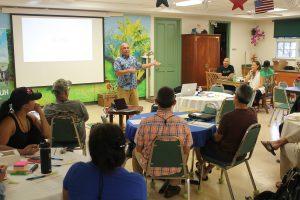 Lanai workshop, L. Tabura speaks photo