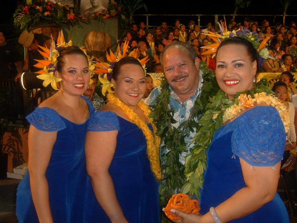 Hoku DeRego (right) at Merrie Monarch 2006. Courtesy photo.