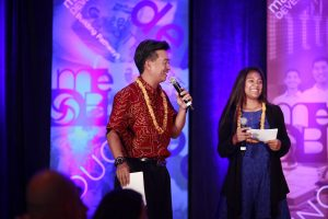 Lt. Gov. Shan Tsutsui and daughter Mikayla will return as hosts of the Family Feud, The STEM Edition game. MEDB photo.