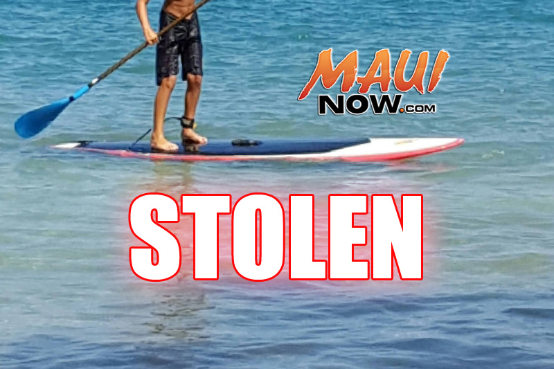 Stolen SUP taken from Mākena on Thursday, July 28, 2016.