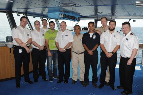 Crew members of the ms Veendam after rescuing a pilot off the coast of Maui back in 2015. Photo Courtesy: Holland America Line