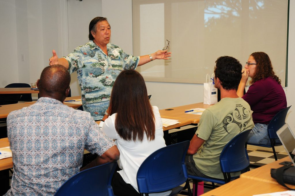 Wayne Thom of DBEDT shared information on the Enterprise Zones (EZ) Partnership Program, a state program which helps lower the cost of doing business in Hawai'i. DBEDT photo.