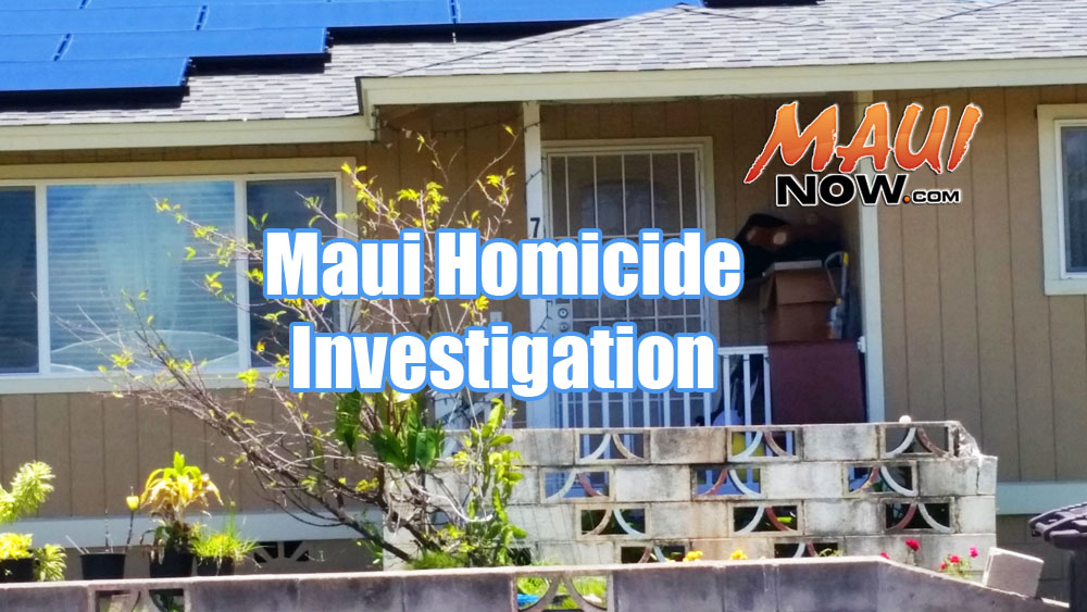 Maui police have since wrapped up their on scene homicide investigation at a Kea Street where police responded to reports of a group of armed males threatening people at the residence. Upon investigation, one adult male was found dead at the scene. Photo by Wendy Osher.