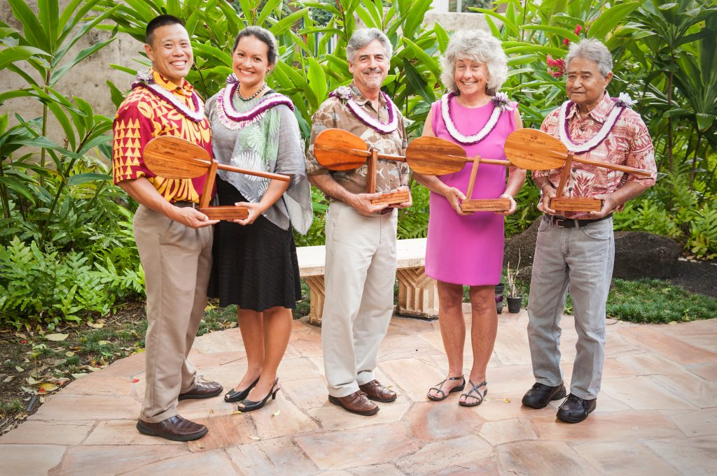 Pictured from left to right: John Leong, Juliana Rapu Leong, Paul Singer, Christine Richardson and William Akutagawa, Jr., courtesy of the Hawaii Community Foundation.