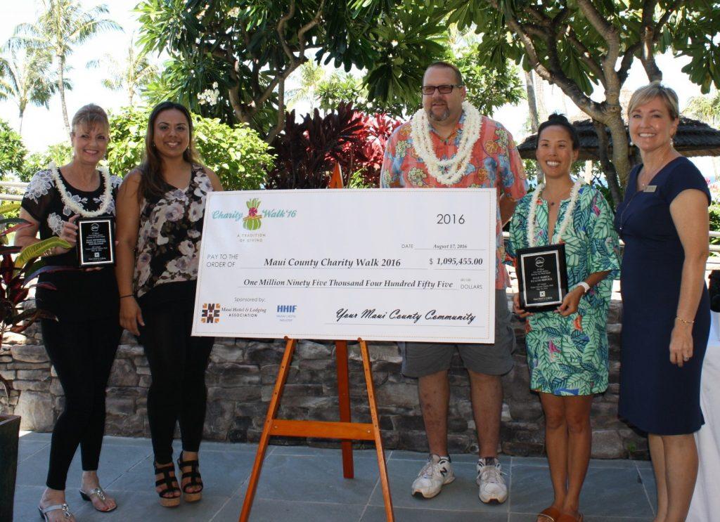 Photo Caption: Charity top non-profit agencies recognized (l-r): Carlayna Nakamura and Tiana Cordero of Maui Memorial Medical Center Foundation; Dan Williams, Westside Hoops; Denise Thayer, Hale Makua; Lisa Paulson, Maui Hotel & Lodging Association.