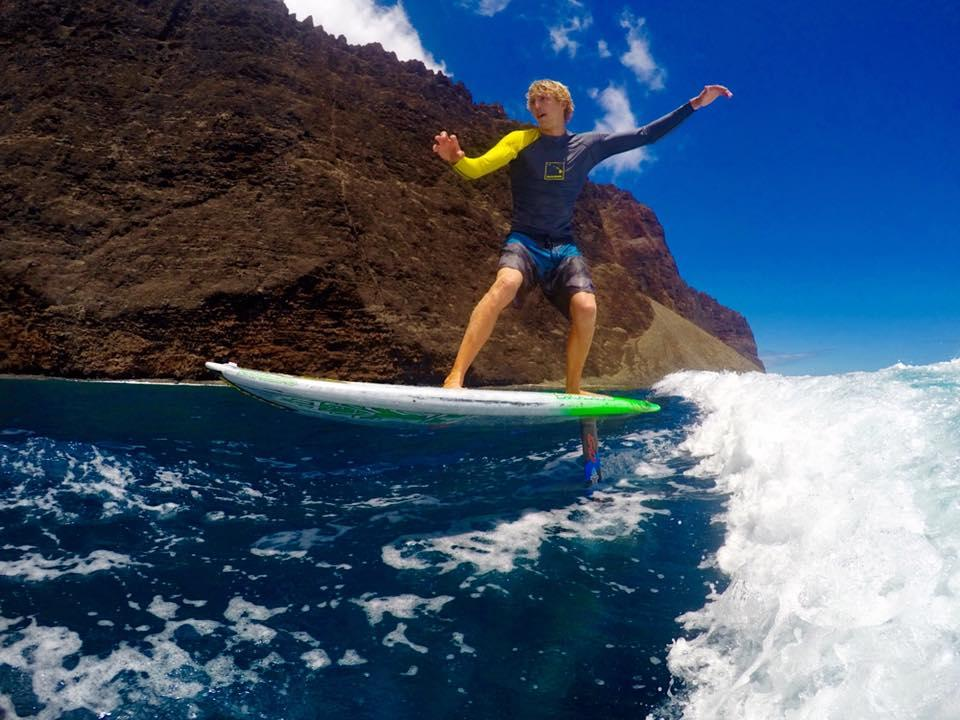 Connor Baxter using his foil board. Photo: via Connor Baxter GoPro