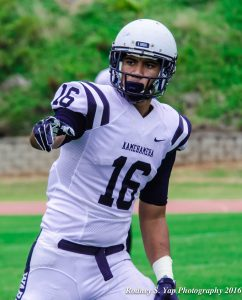Kamehameha Kapalama's Chris Ah Mook Sang caught a pair of third-quarter touchdowns Saturday to help the Warriors defeat Baldwin on Saturday, 38-14. Photo by Rodney S. Yap.