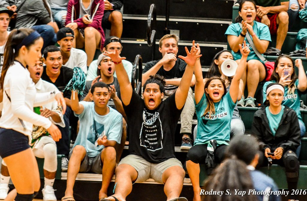 King Kekaulike students cheered on their girls volleyball team Tuesday against visiting Kamehameha Maui. Na Aliis won in four sets and will continue to celebrate homecoming spirit week through Friday night's MIL football game at the school's stadium against Lahainaluna. Photo by Rodney S. Yap.