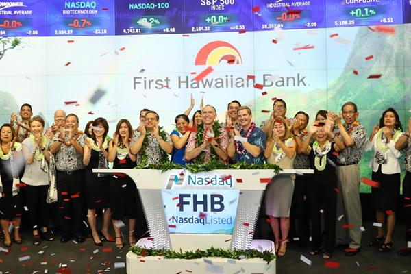 First Hawaiian Bank rings The Nasdaq Stock Market Closing Bell in celebration of its IPO. Courtesy photo.