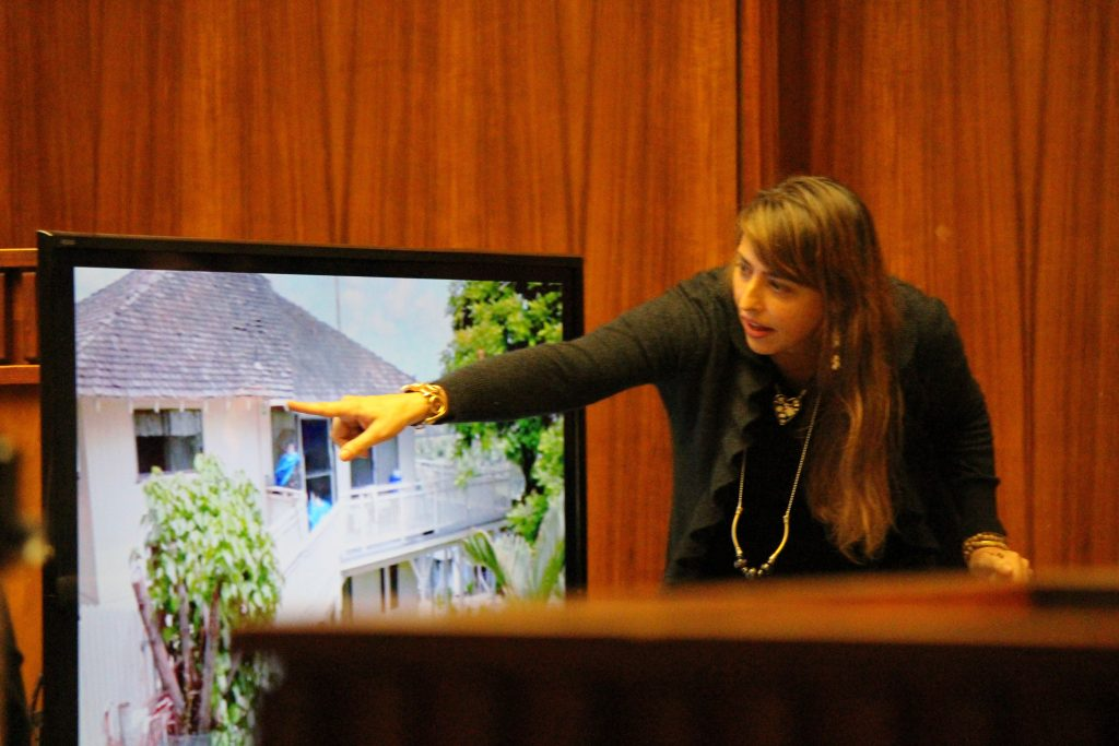 Jennifer Taylor, a former co-worker of Steven Capobianco, testified that she saw Capobianco driving a 4Runner in Hāna town the night Charli Scott went missing. During testimony, she pointed to lighting on a home along the Hāna Highway. Photo 8.26.16 by Wendy Osher.