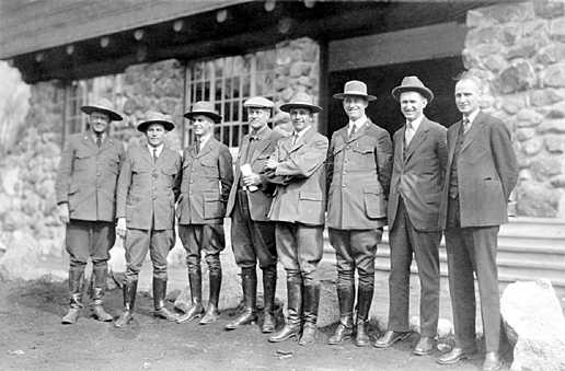 NPS personnel at Yosemite, 1926. Stephen Mather is 4th from left. Horace Albright is 7th from left. James V Lloyd photo credit.
