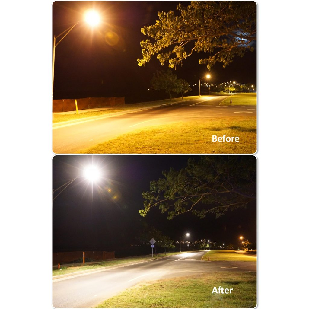 Maui Electric launched an energy saving street light demonstration project in June when 24 light-emitting diode (LED) street light fixtures with computer operating capabilities were installed along both sides of Maui Lani Parkway. Top photo shows part of Maui Lani Parkway before the LED street lights were installed. Bottom photo was taken after the installation. As part of the demonstration, several different types of LED lights were installed. Data collected will evaluate light characteristics, such as color and brightness, and dimming capabilities that could result in improved energy efficiency.
