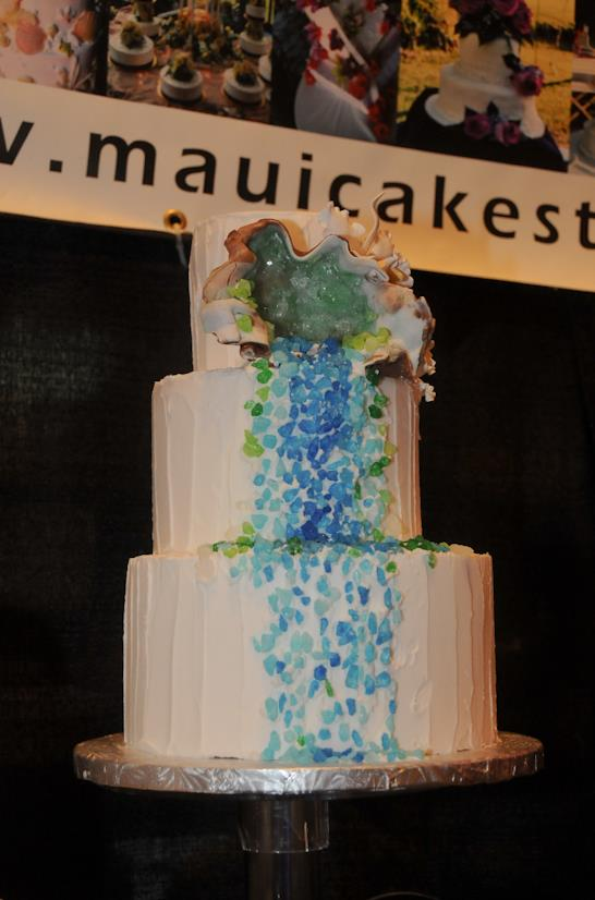 Delicious and decorative cakes displayed at the Maui Wedding Association's Maui Wedding Expo.