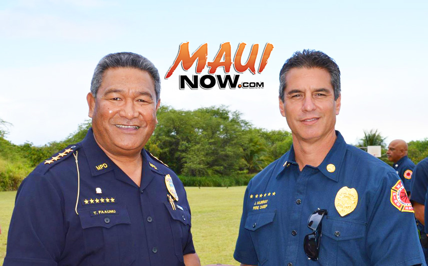 Maui Police Chief Tivoli Faaumu (left) and Maui Fire Chief Jeff Murray (right). File photo courtesy Boys & Girls Clubs of Maui.
