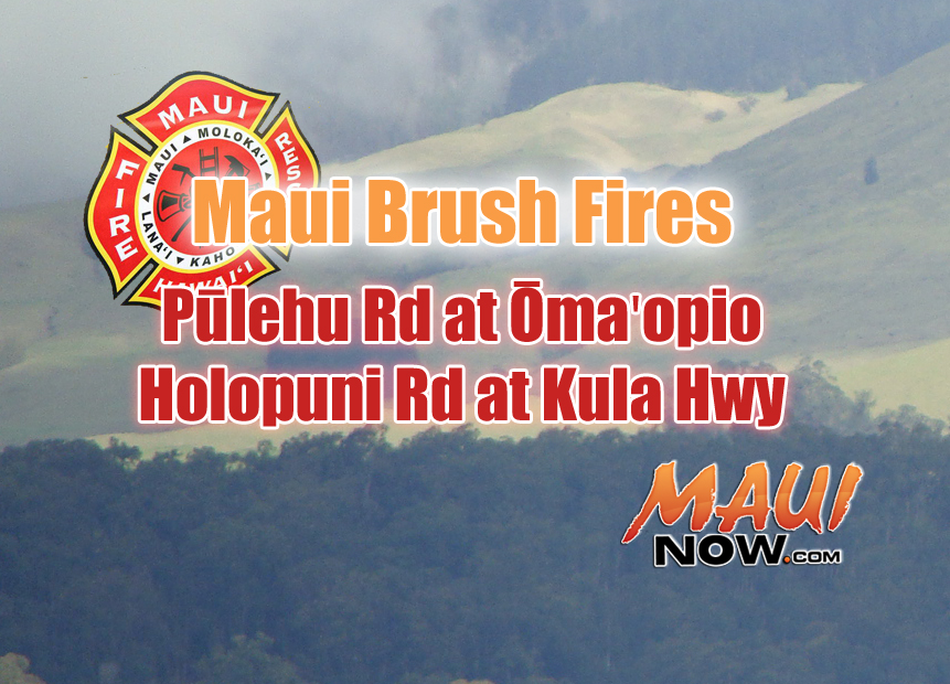 Kula brush fires. Maui Now graphic.