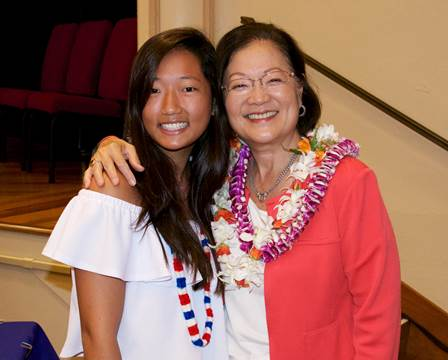 Senator Hirono and 18-year-old Sharon Sui Yan So of Hong Kong, the youngest naturalized citizen at Wednesday's (8.10.16) ceremony.