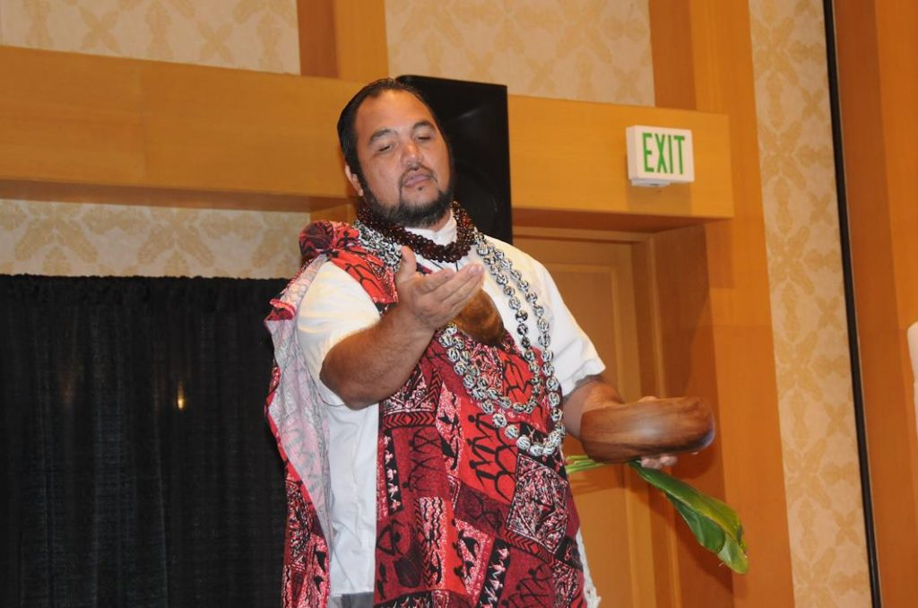 Kahu Kamuela Rodrigues begins the 21st Annual Maui Wedding Expo with a Hawaiian Chant and blesses the event with a blessing of ocean water from a ti leaf. The well attended event brought brides and grooms and families of couples from all over Maui and even from the mainland and internationally. This annual event is produced by the Maui Wedding Association, an association made up of wedding professionals throughout Maui. This was the 21st such event.