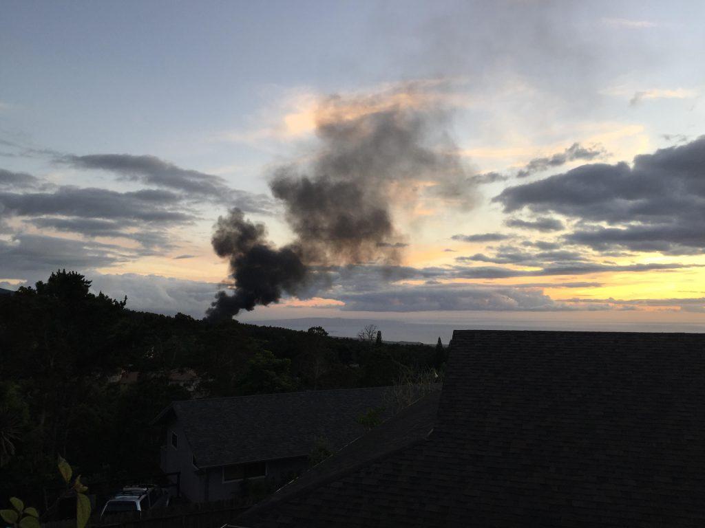 Kula structure fire. Photo courtesy: Cassandra Okimoto