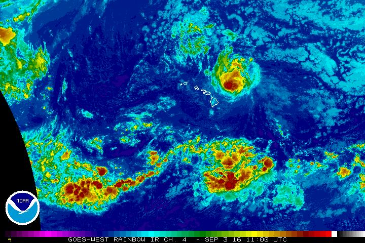Lester is a Category 2 Hurricane. Satellite imagery shows the system at 1 a.m. HST on 9.3.16. Background imagery courtesy NOAA/CPH/NWS.