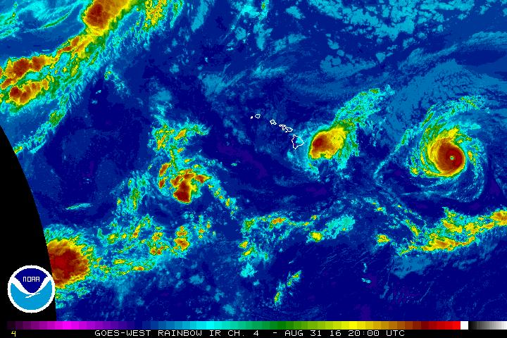 Madeline. Satellite imagery, 10 a.m. 8.31.16. Image credit: NOAA/NWS/CPHC.