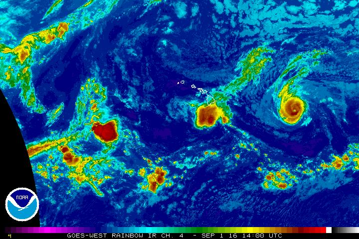 Madeline. Satellite imagery, 4 a.m. 9.1.16. Image credit: NOAA/NWS/CPHC.