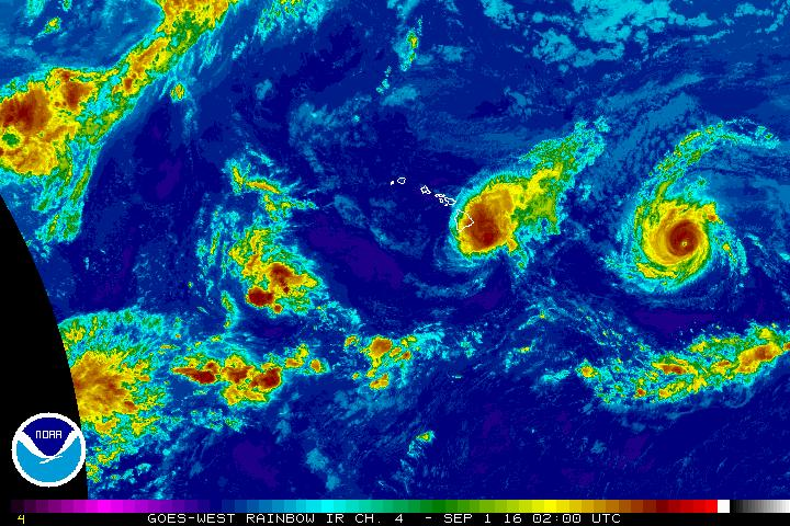 Madeline. Satellite imagery, 5 p.m. 8.31.16. Image credit: NOAA/NWS/CPHC.