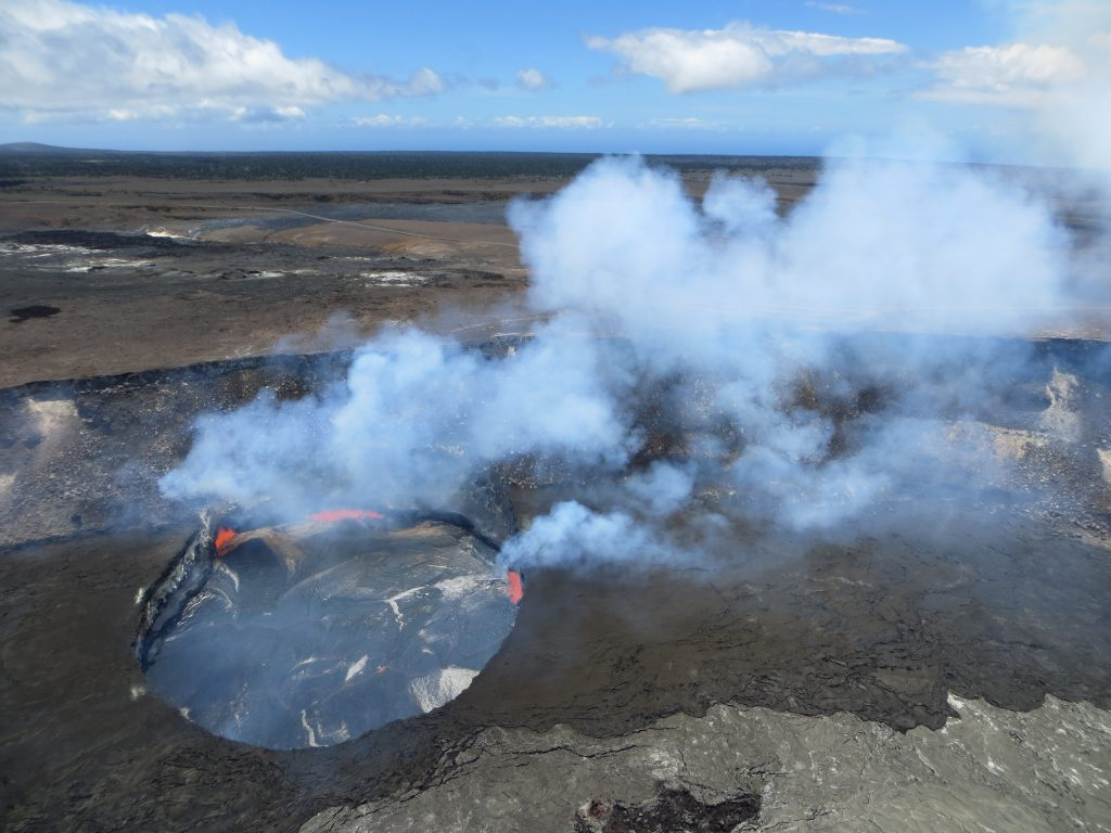 On Friday afternoon, three areas of spattering on the summit lava lake surface produced abundant volcanic gas emissions, one of the main hazards near the Halemaʻumaʻu Crater vent. Earlier this morning, spattering lava was visible from a safe distance at Jaggar Museum Overlook in Hawaiʻi Volcanoes National Park. Photo credit: USGS/HVO (7.29.16)