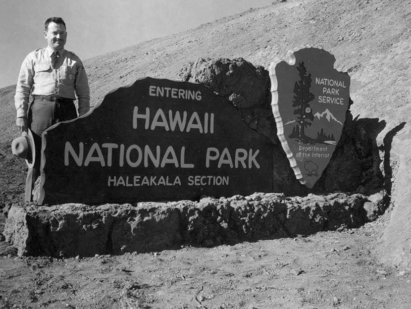 """Hawaii NP, Haleakala Section"" entrance sign, 1916. NPS photo credit"