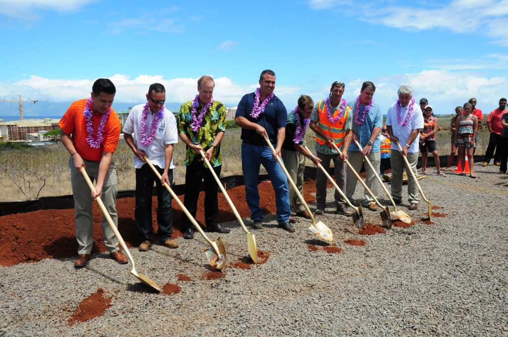Development team break ground on the new hospital site in West Maui. Pictured left to right: Bryan Esmeralda (Munekiyo Hiraga); Garrett Tokuaka (ATA); Brian Hoyle (Newport Corporation) - hospital developer; Dan Blackburn (F&H Construction); Steve Lovelette (Kaanapali Land Management Corp.); Bo McKuin (Goodfellow Bros.); Charlie Slaton (Critical Access Healthcare); Gary Kelso (Mission Health Services)