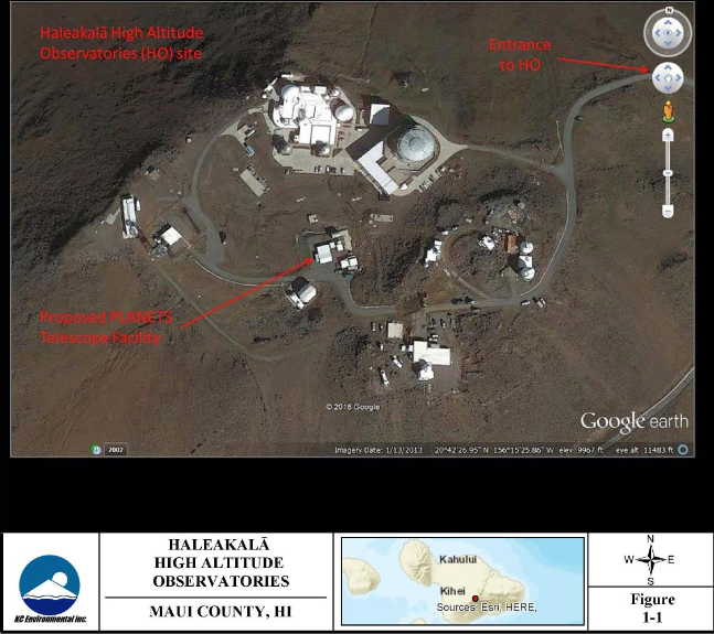 Site of the proposed PLANETS Telescope. Image credit: Haleakalā High Altitude Observatories, KC Environmental Inc./ Draft EA.