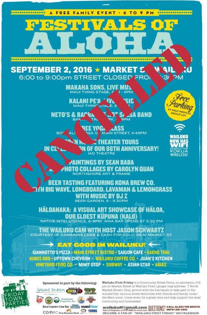Wailuku First Friday, Sept. 2 CANCELLED.