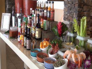 Bloody Mary Bar at Cane & Canoe, Montage Kapalua Bay. Photo by Kiaora Bohlool.