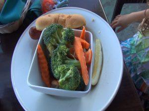 Keiki hot dog and vegetables, available at Seascape Mā'alaea Restaurant. Photo by Kiaora Bohlool.