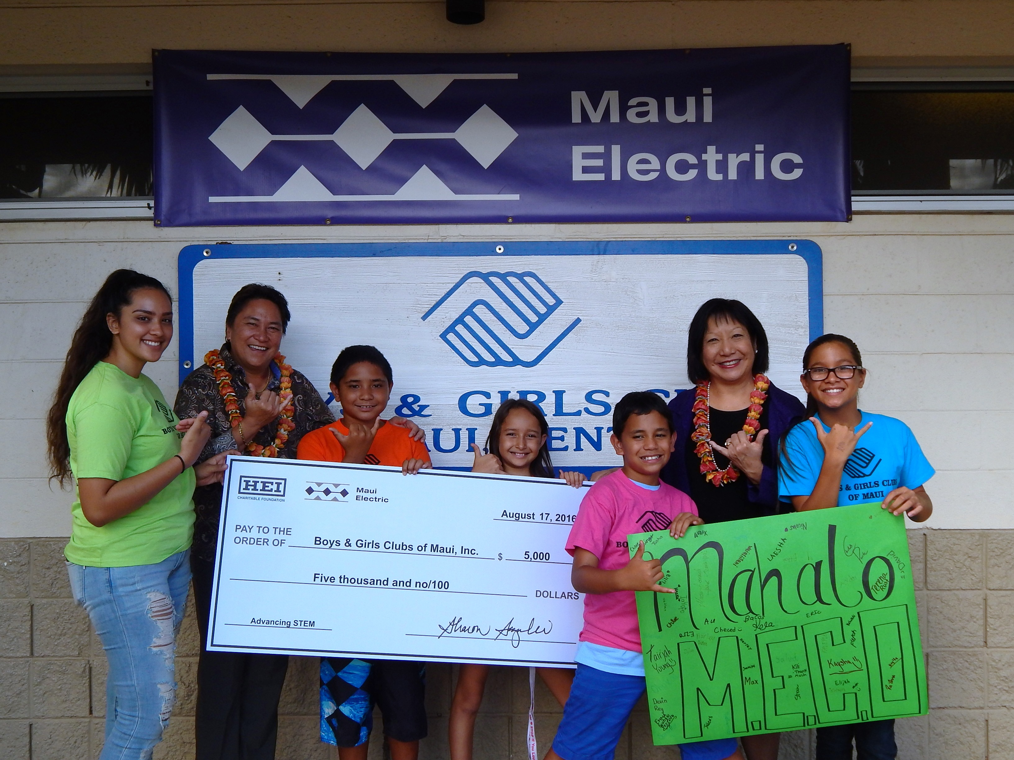 Maui Electric supports Boys and Girls Club of Maui's STEM program with $5,000 donation
