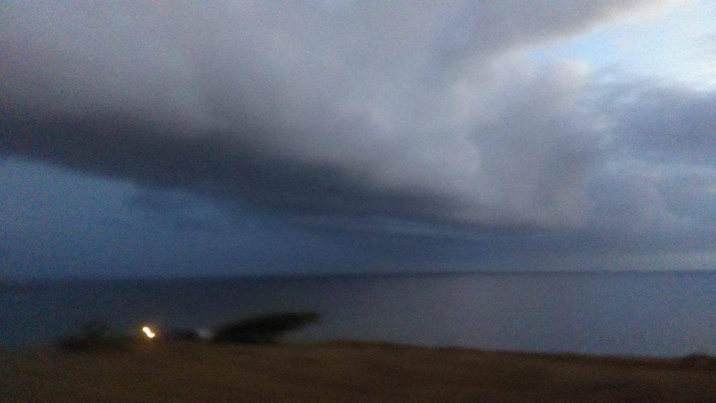 Pouring rain in Kaupō/Kīpahulu at 6:54 p.m., Saturday, Sept. 3, 2016. Photo credit: Kristi Souza