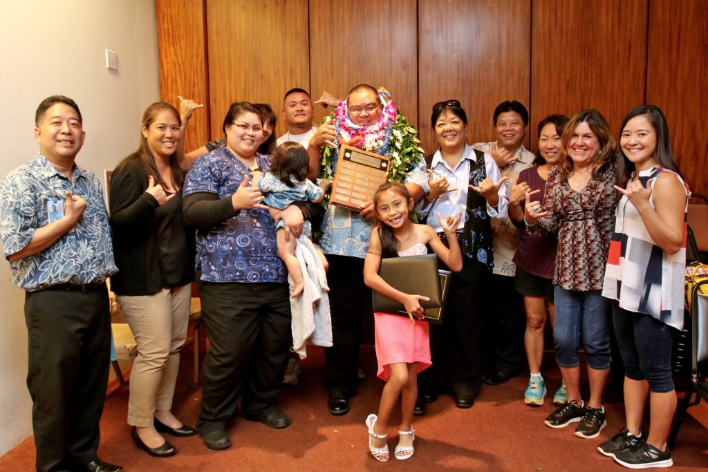 Honowai Elementary's Lowell Kalani Spencer was named HIDOE's 2016 Employee of the Year for his meticulous work as head custodian.